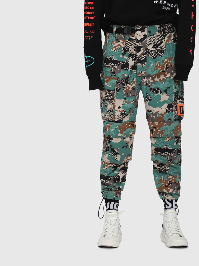 Diesel - P-LUZA-CAMOU, Green Camouflage - Pants - Image 1