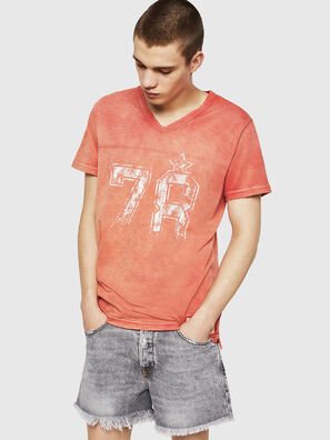 T-DIEGO-V-CUT, Fire Red - T-Shirts