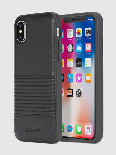 Diesel - BLACK LINED LEATHER IPHONE X CASE, Black Leather - Cases - Image 1