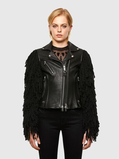 Diesel - L-ELIZABETH, Black - Leather jackets - Image 1