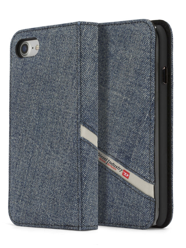 Diesel - DENIM IPHONE 8/7 FOLIO, Blue Jeans - Flip covers - Image 1