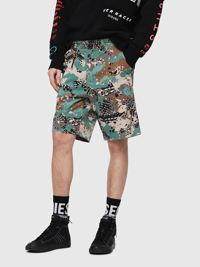 Diesel - P-FRANK-SHO-CAMOU, Green Camouflage - Shorts - Image 1