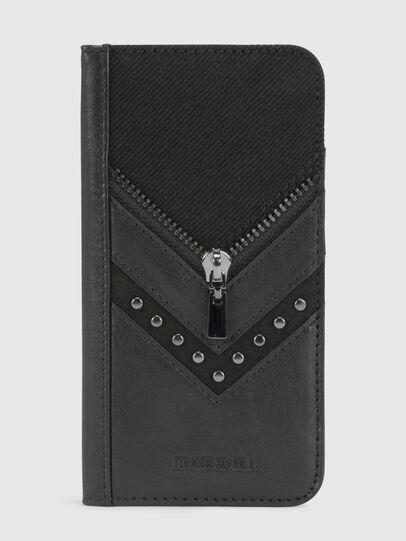 Diesel - BLACK DENIM/STUD/ZIPPER IPHONE X FOLIO,  - Flip covers - Image 2