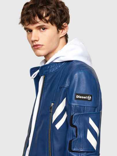 Diesel - L-FULK, Blue - Leather jackets - Image 3