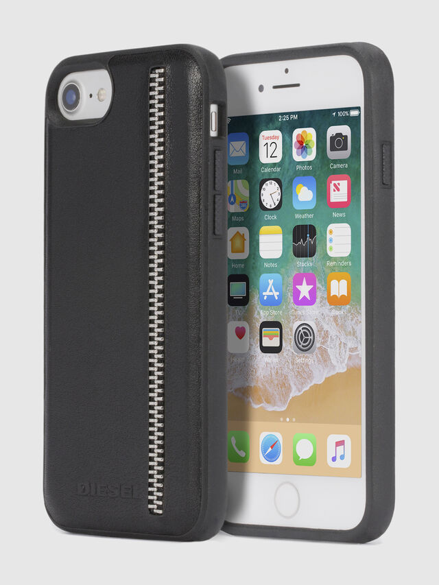 Diesel - ZIP BLACK LEATHER IPHONE 8/7/6s/6 CASE, Black - Cases - Image 1