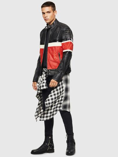 Diesel - L-ROURKE, Black/Red - Leather jackets - Image 8