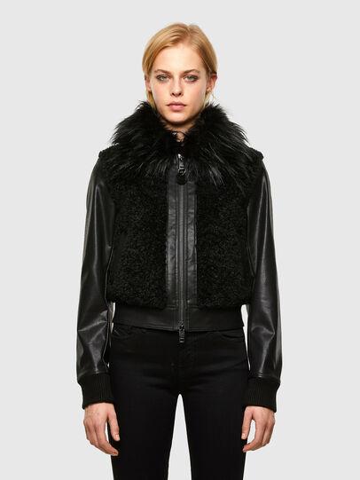 Diesel - L-LEDA, Black - Leather jackets - Image 1