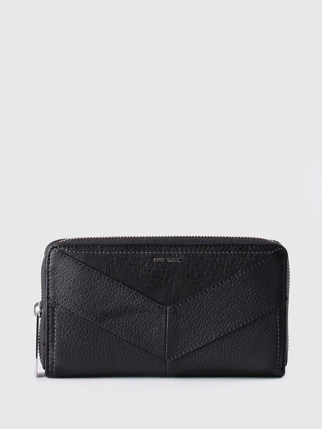 Diesel - GRANATO, Black Leather - Zip-Round Wallets - Image 1