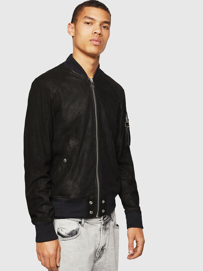 Diesel - L-NIKOLAI, Black - Leather jackets - Image 1
