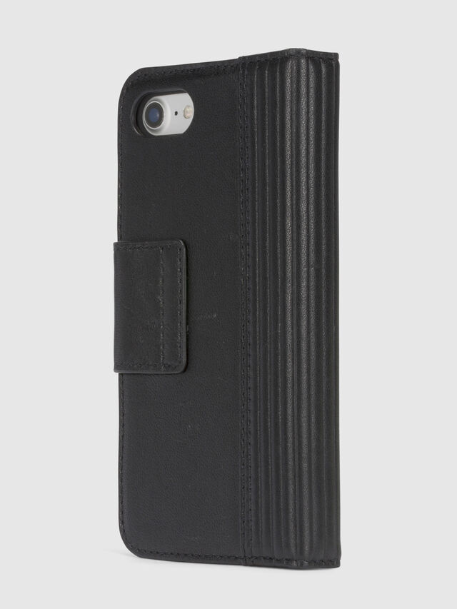 Diesel - BLACK LINED LEATHER IPHONE 8/7 FOLIO, Black - Flip covers - Image 5
