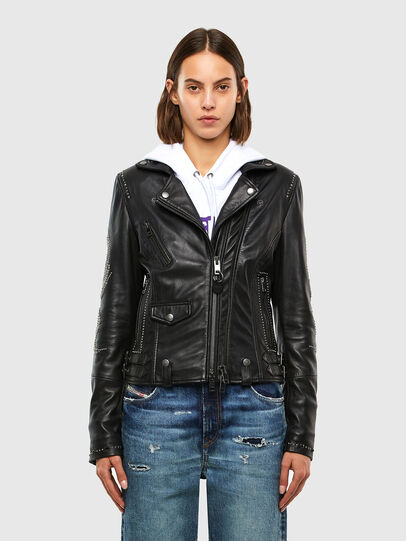 Diesel - L-DIANE, Black - Leather jackets - Image 1