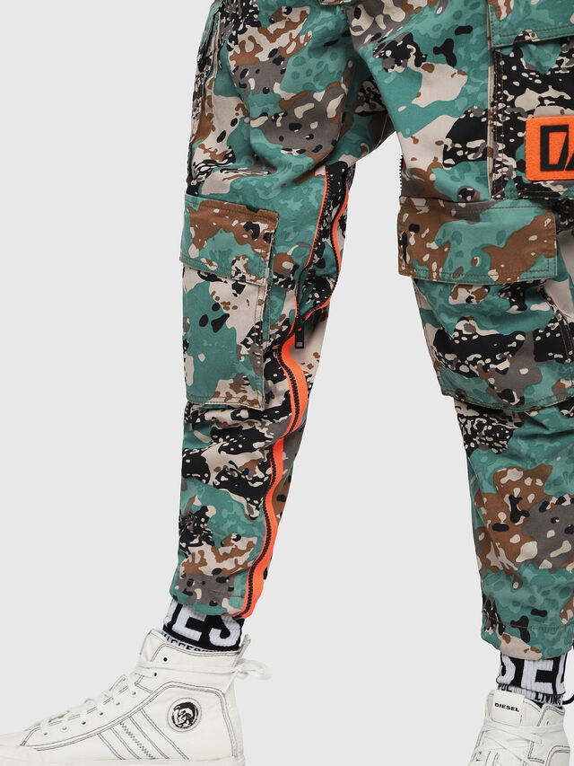 Diesel - P-LUZA-CAMOU, Green Camouflage - Pants - Image 4