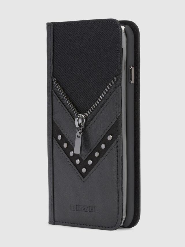 Diesel - BLACK DENIM/STUD/ZIPPER IPHONE X FOLIO, Black - Flip covers - Image 4