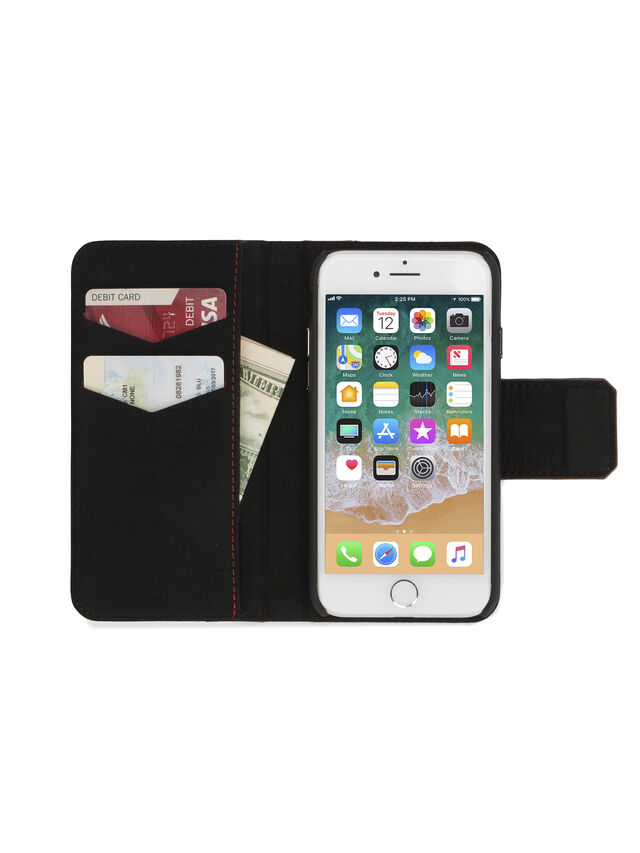 Diesel - BLACK LINED LEATHER IPHONE 8 PLUS/7 PLUS FOLIO, Black - Flip covers - Image 4