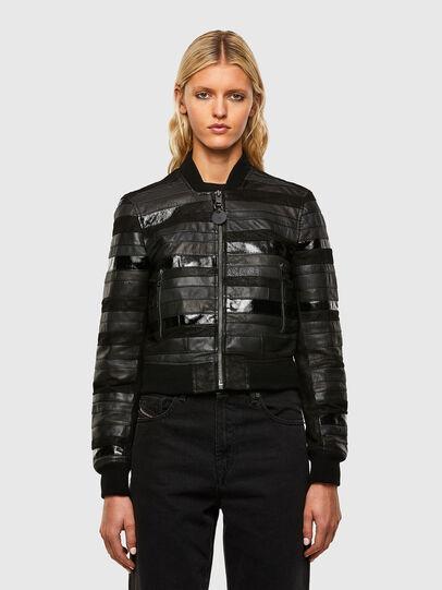 Diesel - L-WALL, Black - Leather jackets - Image 1