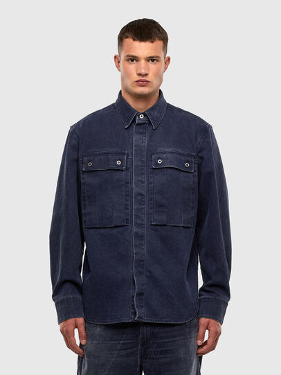 Diesel - D-VERSO, Dark Blue - Denim Shirts - Image 1