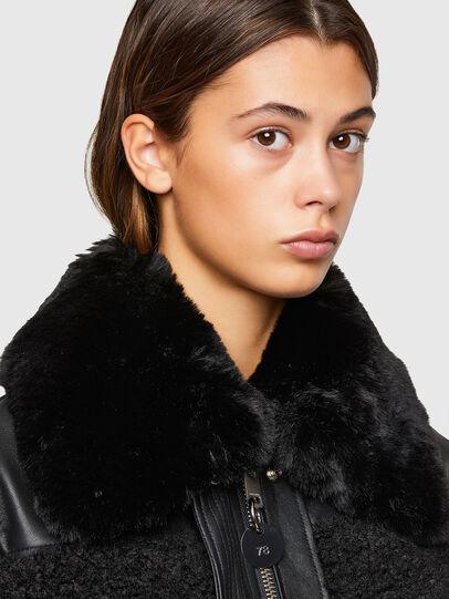 Diesel - L-CELIA-TEDDY, Black - Leather jackets - Image 4