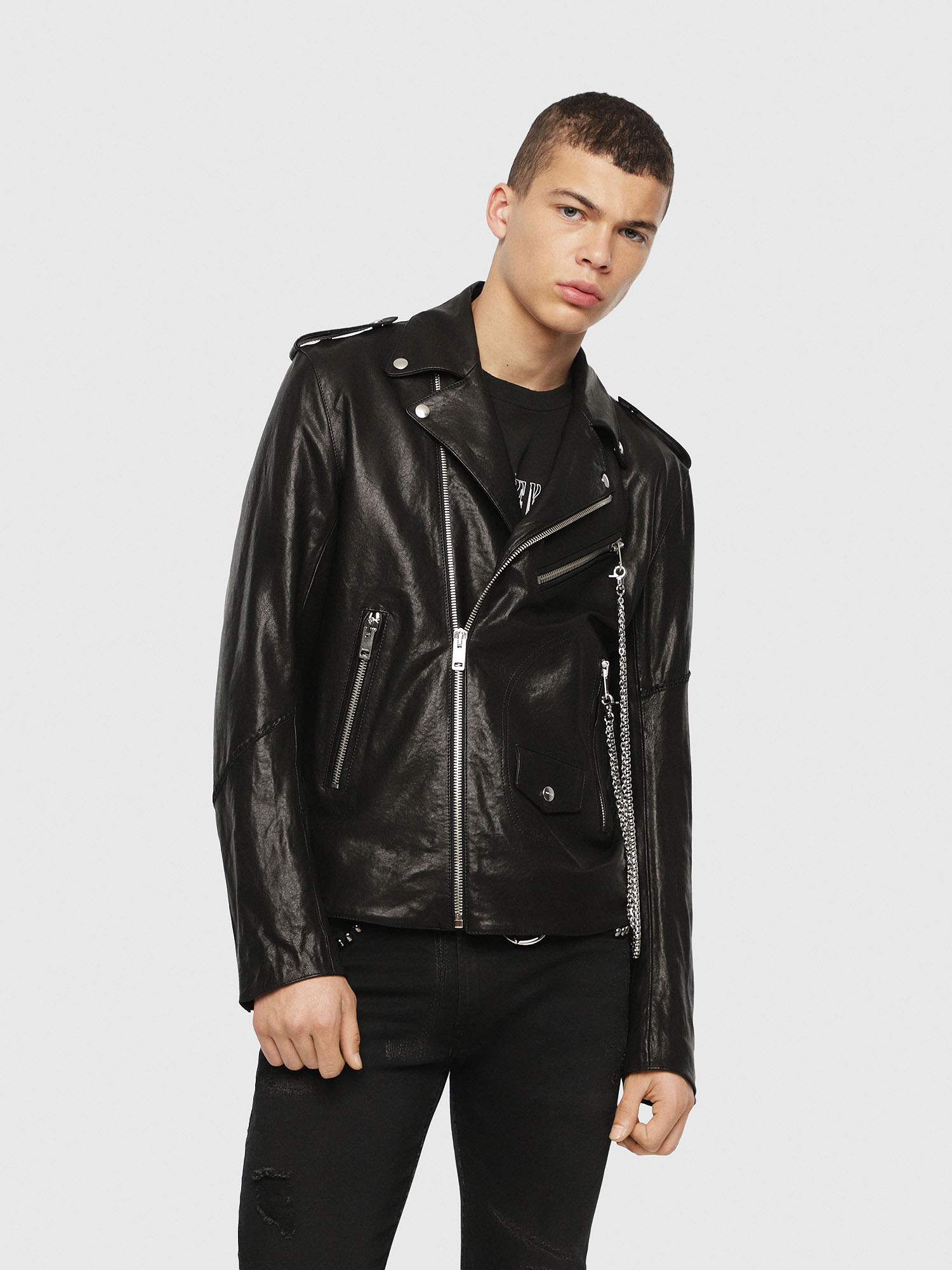 Diesel - SE-LEANDRO,  - Leather jackets - Image 1