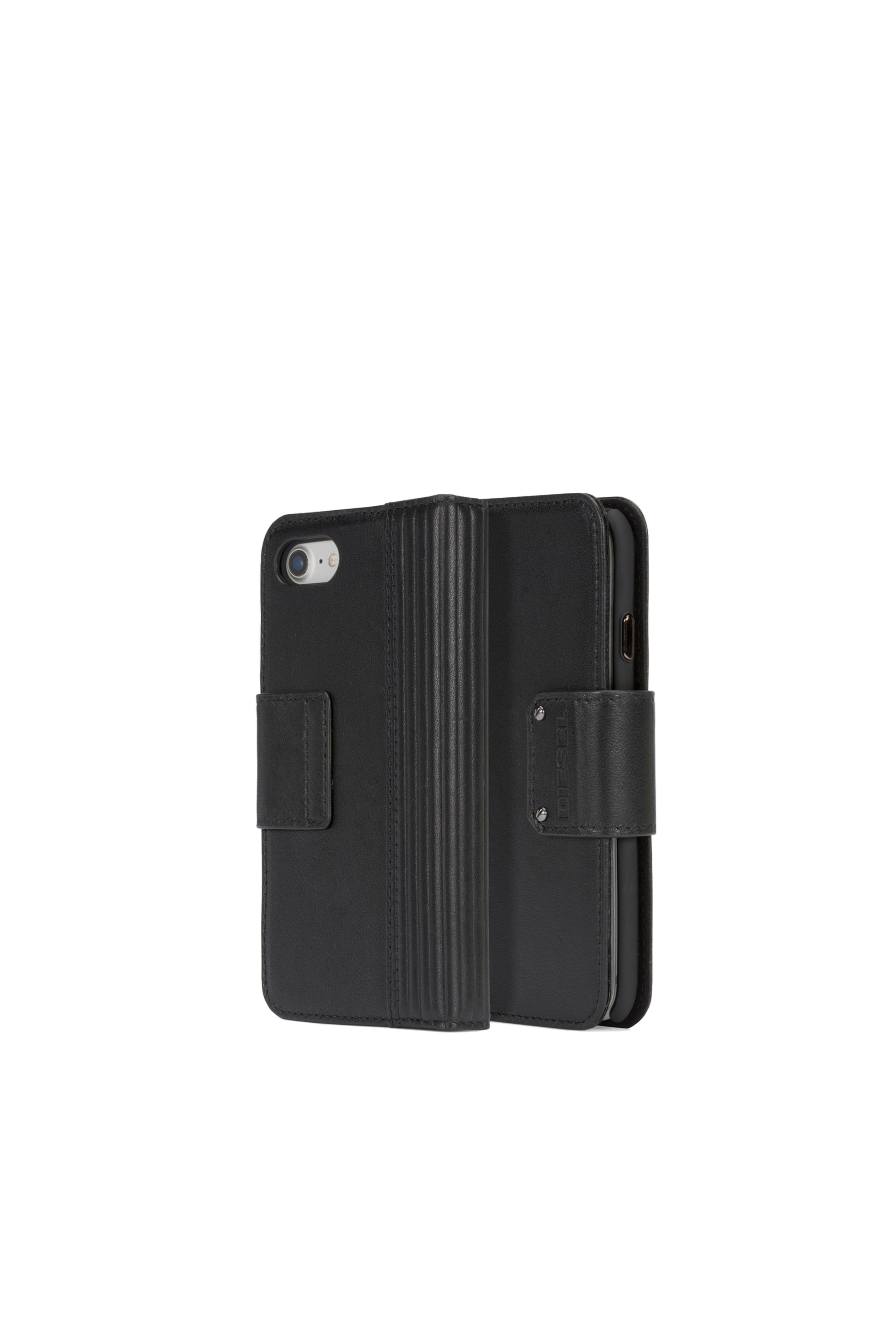 Diesel - BLACK LINED LEATHER IPHONE 8/7 FOLIO,  - Flip covers - Image 1