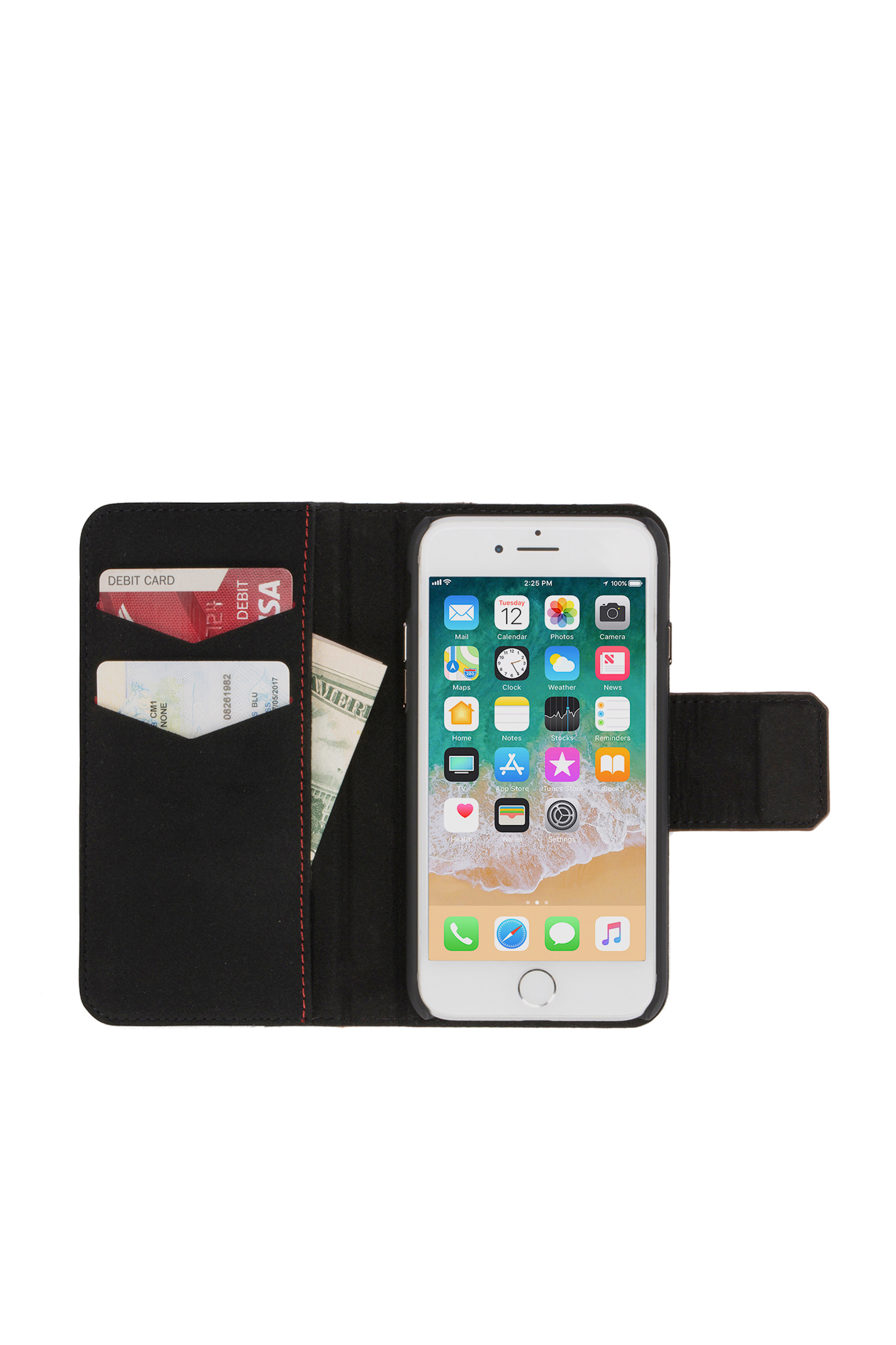 Diesel - BLACK LINED LEATHER IPHONE 8/7 FOLIO,  - Flip covers - Image 6