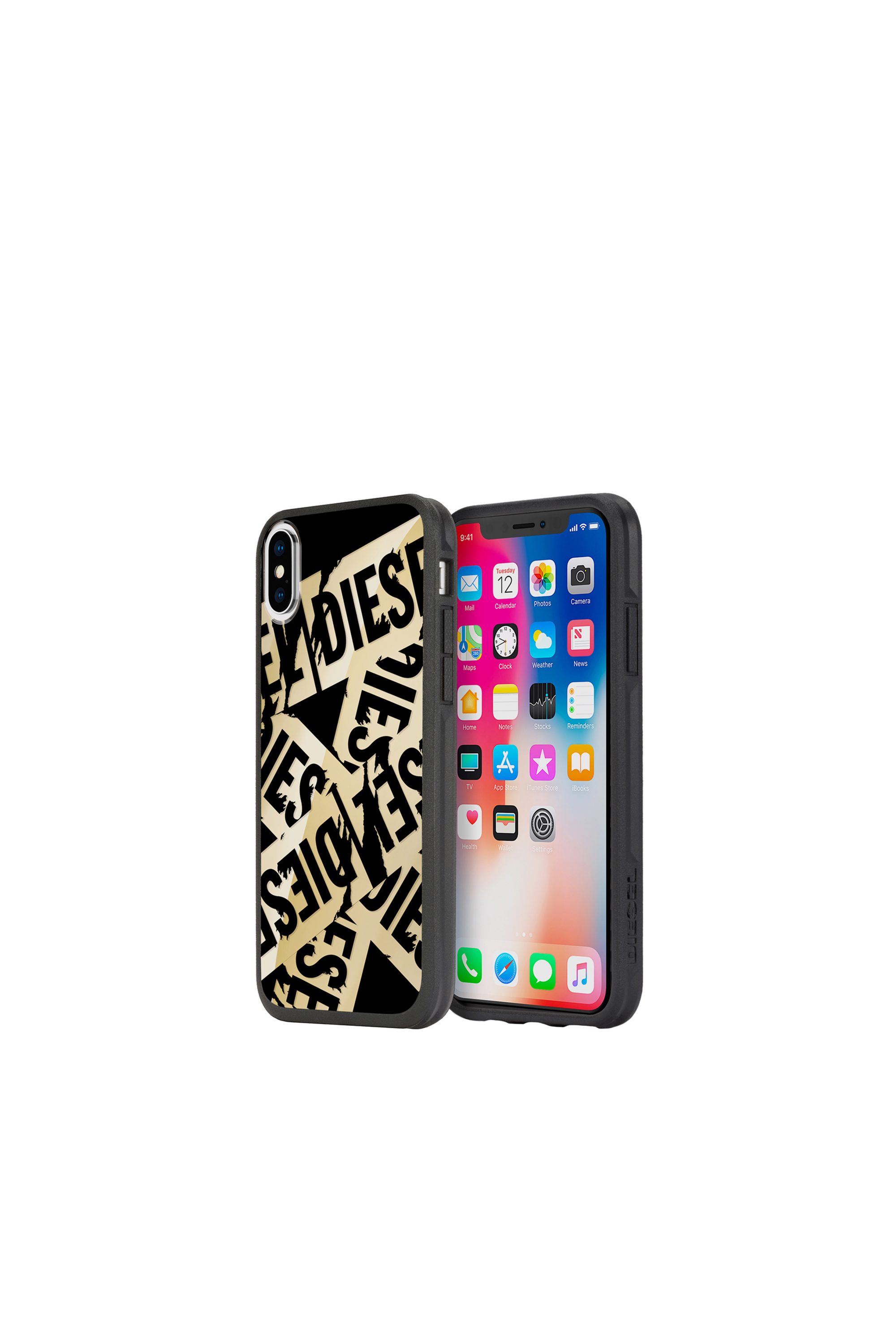 Diesel - MULTI TAPE GOLD/BLACK IPHONE X CASE,  - Cases - Image 1